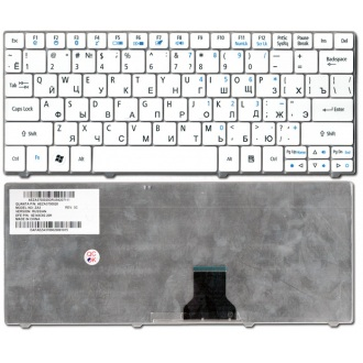 Клавиатура для ноутбука ACER Aspire One 721 751 752 753 772 1410 1551, TimeLine 1810 1830T, Ferrari One 200 WHITE RU