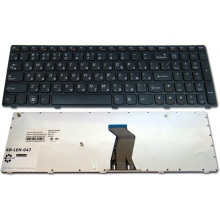 Клавиатура для ноутбука LENOVO IdeaPad B570 B575 B580 B590 V570 V575 Z570 Z575 BLACK FRAME BLACK RU