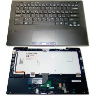 Клавиатура для ноутбука SONY VAIO VPC-SA BLACK RU BackLight (с крышкой, тачпэдом, сканером отпечатков пальцев)